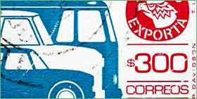 stamp with blue cars